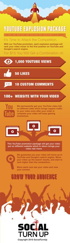 "http://www.socialturnup.com/product/youtube-explosion-package/ Buy YouTube views With our YouTube promotion, each explosion package will rank your video closer to the top position on YouTube and Google""s search engine."