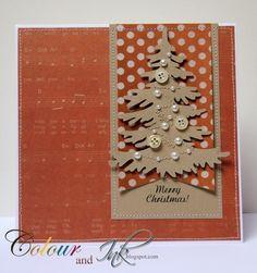 card christmas tree kraft orange polkadot banner happy holiday pine trees