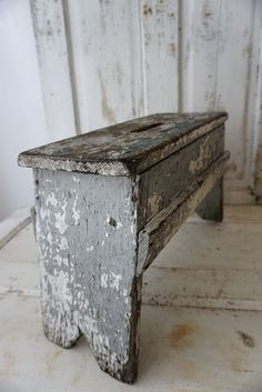 French farmhouse wooden stool old chippy paint by AnitaSperoDesign
