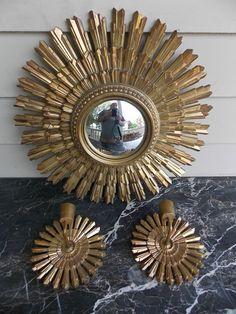 невероятно середины века позолота Syroco Hollywood золотистый настенное зеркало и бра in Антиквариат, Декоративное искусство, Зеркала | eBay