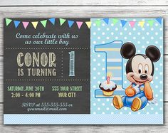 Mickey mouse invitation printable mickey mouse birthday party custom baby mickey mouse birthday invitations by itsjenuine filmwisefo Image collections