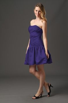 Strapless Pleated Satin Dress $119.99