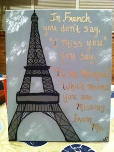 """In french you don't say, """"i miss you"""" you say, """"Tu me manques""""which means, you are missing from me.. Artist: Emily Folino Medium: Acrylic paint"""