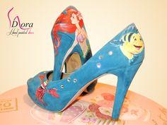 #handpainted  #hand #painted #shoes #little #mermaid #ariel #scarpe #dipinte #mano #sirenetta #flounder #sebastian #art #fashion #hight #heels