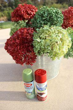 Christmas DIY : Spray paint hydrangeas now! Spray Paint Flowers, Diy Spray Paint, Flower Spray, Spray Painting, Encaustic Painting, Painting Flowers, Fake Flowers, Artificial Flowers, Silk Flowers