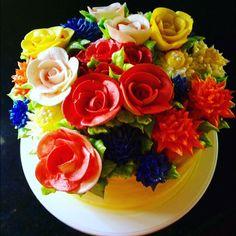 Lemon buttercream bouquet cake!!