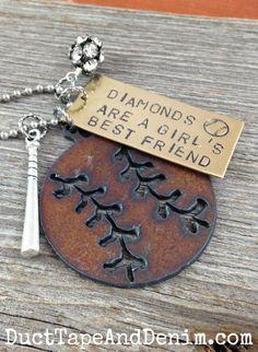Diamonds are a girl's best friend baseball necklace | DuctTapeAndDenim.com