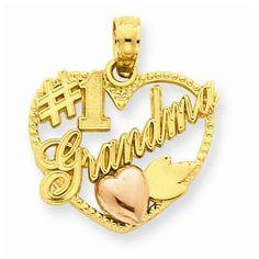 14k Two Tone Gold #1 Grandma in Heart Pendant