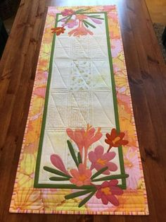 Pretty Table Runner with Lovely Appliqued Flowers