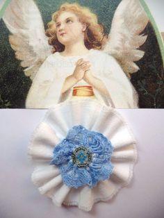 Shabby Blume Rose weiß hellblau Vintage Spitze Perle Schule Geburt Handarbeit
