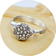 Wire Wrapped Ring- Sterling Silver Filled Wire with Metal Flower and Leaves Bead - Any Size - Size 4, 5, 6, 7, 8, 9, 10, 11, 12, 13, 14