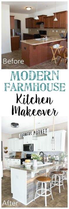 Modern Farmhouse Kitchen Makeover Reveal A dark and boring builder grade kitchen gets a budget-friendly makeover with modern farmhouse style using doable DIY projects. Kitchen Redo, Home Decor Kitchen, Kitchen Makeovers, Kitchen Cabinets, Kitchen Paint, Kitchen Island, Room Makeovers, Diy Cabinets, Apartment Kitchen