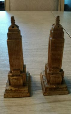 Empire State Building Salt & Pepper Shakers, Metal, Vintage with Cork