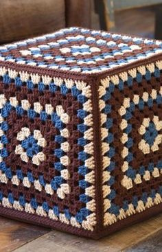 This retro looking ottoman cover would be a cool crochet project....