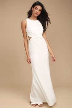 We have a lasting love for the Trista White Cutout Maxi Dress! This sleek and stretchy knit maxi dress starts off with a rounded neckline and fitted bodice, while a gathered waist transitions into sexy side cutouts. Figure-flaunting maxi skirt with hidden back zipper/clasp.