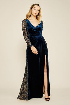 Tadashi Shoji - Molin Lace Long Sleeve Velvet A-line Gown Long Sleeve Velvet Gown, Blue Velvet Dress, Evening Dresses For Weddings, Evening Gowns, Formal Dresses, A Line Gown, Tadashi Shoji, Beautiful Costumes, Traditional Dresses