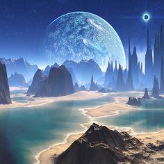 PLANET-RISE OVER ALIEN BEACH WORLD )