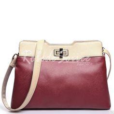 Sac Besace Femme-la couleur rouge serrure coup double usage package