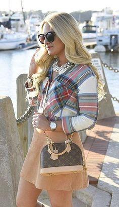 #winter #outfits /  Plaid Shirt // Camel Skirt // Leather Shoulder Bag