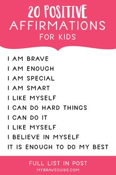 Using Affirmations to Boost Self-Esteem in Kids - Brave Guide Self Esteem Affirmations, Positive Affirmations For Kids, Daily Affirmations, Kids And Parenting, Gentle Parenting, Parenting Tips, Self Esteem Quotes, Self Esteem Kids, Kids Mental Health