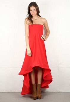 Alexis Mara Layered Strapless Dress with Long Tail in Dark Red