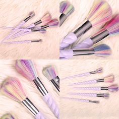 Pincéis unicórnio baratinhos, fofinhos, veganos e cruelty free #maquiagem #pincel #unicornio #raibow #arcoiris