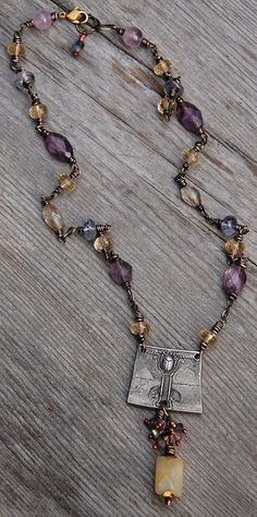 Necklace necklace with recycled metal pendant, amethyst, honey jade, citrine and iolite Mixed Media Jewelry, Metal Jewelry, Boho Jewelry, Jewelry Art, Beaded Jewelry, Vintage Jewelry, Handmade Jewelry, Jewelry Necklaces, Beaded Necklace