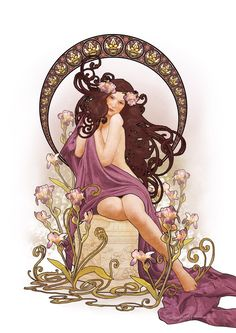 Art Nouveau Iris by *CassiopeiaArt