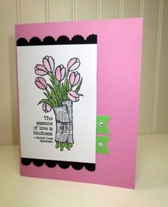 Stampin Up Thinking of You Card, Handmade Love is Kindness, Adorning Accents Edgelit, Banner Punch, Rhinestones by StampinINK