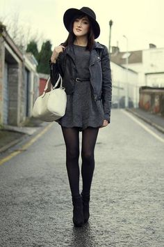 Bohemian Style Idea: wide brimmed hat, flirty dress, leather jacket, and ankle boots