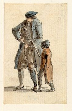Sketches from Scotland after 1745. Bagpiper and boy. Details - blue coat, brown breeches and what looks like blue stockings. Interesting details is the brown vague thing visible above his knees. It could be a long loose waistcoat that's very floppy in fabric, or more likely a smock style shirt that's not been tucked in and hanging down below the waistcoat. Boy is in red jacket and possibly baker-boy type hat. The coat's too long for him and comes down to his calfs and dark coloured…