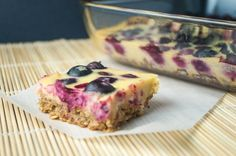 Meyer Lemon Blueberry Bars with Oatmeal Crust - Slender Kitchen. Works for Vegetarian and Weight Watchers® diets. 208 Calories.