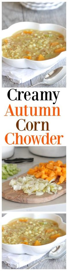 This Creamy Autumn Corn Chowder is the perfect snack or appetizer for the chilly time of year! You'll fall in love with this tasty and comforting chowder! Chowder Recipes, Soup Recipes, Dinner Recipes, Cooking Recipes, Bowl Of Soup, Soup And Salad, Easy Corn Chowder, Good Food, Yummy Food