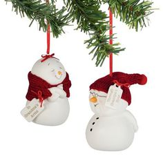 Snow Pinions - Grandma & Grandpa Snowman Ornaments Snowpinions - A Collection BY Kristin Jensen Pierro - Porcelain Bisque Ornaments And Figures Don Hand-knit Hats, Earmuffs And Scarves. Each Delivers Funny And Sweet Heartfelt Sentiments TO Family And Friends!