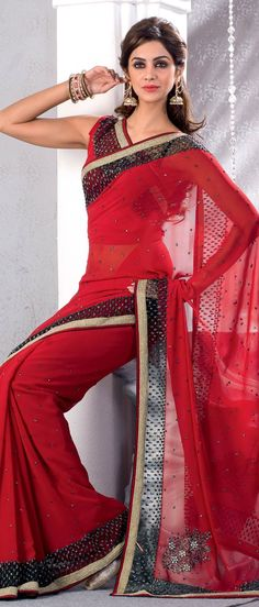 Deep #Red Faux Georgette #Saree