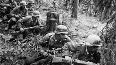 The German infantry takes position in a forest as they advance on Leningrad, Russia, during World War II. Get premium, high resolution news photos at Getty Images German Soldiers Ww2, German Army, War Of Attrition, Operation Barbarossa, Germany Ww2, Soviet Army, Ww2 Photos, War Photography, Panzer