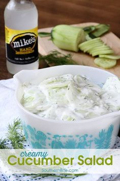 The cool and creamy flavors of this Creamy Cucumber Salad make it the ...
