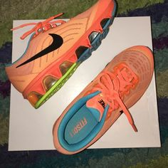 Women's Nikes Women's neon Nikes Tailwind 6. Neon orange, blue, and lime. Hard to find, like new- hardly ever worn. Size 7 Nike Shoes Sneakers