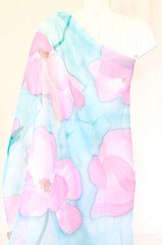 Foulard carré peint à la main foulard en soie rose et bleu Soie Rose,  Foulard a0161892526