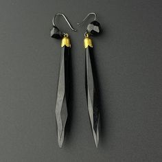 Antique Whitby Jet Rolled Gold Earrings