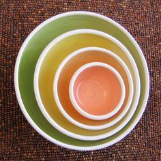 Summer Fruits Nesting Bowls - Large Set of Stoneware Pottery Bowls