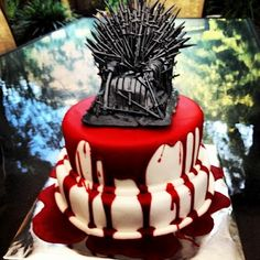 Game of Thrones wedding cake! It may be .. But I think it's a great idea for the series premiere party on 3-31-13!!