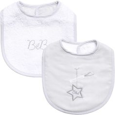 ABSORBA Baby Grey & White Cotton Bibs (Pack of 2)