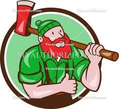 Paul Bunyan Lumberjack Axe Thumbs Up Circle Cartoon Cartoon Stock Illustration. Illustration of a Paul Bunyan an American lumberjack sawyer forest carrying axe on shoulder thumbs up set inside circle on isolated background done in cartoon style. #illustration #PaulBunyanLumberjackAxe