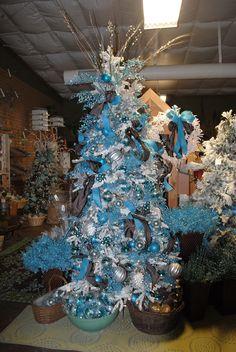 Blue and Brown Christmas tree decorations.  Christmas 2013