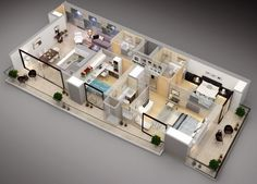 Stunning Three Bedroom Apartment Floor Plans Contemporary ...