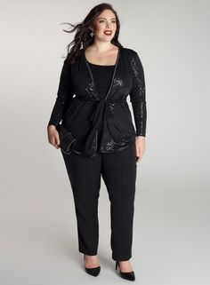Veronetta Cardigan in Onyx @IGIGI by Yuliya Raquel How much do I love that they didn't just put sequins on the front? Every other plus size sequined thing EVER only puts sequins on the back, which I LOATHE.