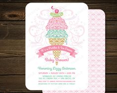 Pickles and Ice Cream Baby Shower Invitation  by PaperSunStudio