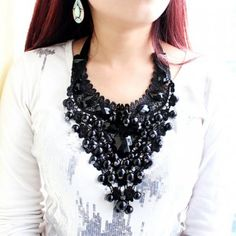 Bold Black Beaded Necklace