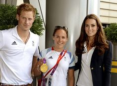 Royal outing: Prince Harry and the Duchess of Cambridge pose with Gold medal winning rower Sophie Hosking at Team GB House in the Westfield Centre